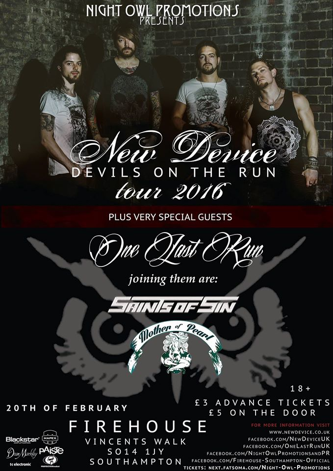 Event: New Device, One Last Run, Saints Of Sin & Mother OfPearl